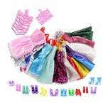 ASIV 12 Kleider, 12 Paris Schuhe, 12 Kleiderbügel Zubehör für Barbie-Geschenke für Kind (36 Stück)