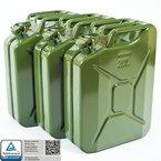 Oxid7 Metallkanister Metall Benzinkanister Kanister Metall 20L 20 Liter - mit UN-Zulassung und TÜV Rheinland Bauart geprüft (20 Liter Metall Grün) (3er Set Benzinkanister grün) (3er Set Benzinkanister grün)