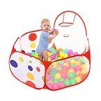 Taotree Beweglicher Hexagon Kinder Baby Bällebad Ballpool Pool Bällepool Drinnen und draußen , Kinder Spielzeug Spiel Zelt mit Rot Reißverschluss Aufbewahrungstasche für Kindergeschenke (1.2M, Basketball Pool)