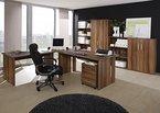 Büromöbel Set - Komplettes Arbeitszimmer Omega, Walnuß Dekor, 8-teilig