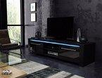 TV Schrank Lowboard Sideboard CONOY mit LED (Schwarz Matt / Schwarz Hochglanz)