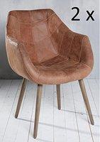 2x Armlehnenstuhl Stuhl Leder Braun mit Holzbeinen Esszimmerstuhl Echtleder Esszimmersessel Designstuhl Loungesessel Sessel Retro Look