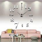 ZJchao 3D Wanduhr Vinyl DIY Clock Moderne Wandtattoo Spiegel-Oberfläche-Aufkleber Dekoration (Silber)