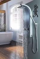 Silbeners Duschpaneel Duschsäule mit Massagedüsen von Sanlingo
