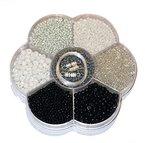 Basteln - Perlen Mix - incl. Nylon Schnur u. Verschluss - ca. 120gr - (1x1Set) (Schwarz/Weiss)