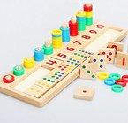 hibote Baby-fr¨¹he p?dagogische Spielwaren Montessori Materialien Geschenk Holz Count und Spiel Zahlen, Mathematische Bl?cke Form Sorter Knopf Puzzle f¨¹r Kinder Kinder Lernen (16,92 X 5,51 X 1,177 Inch)