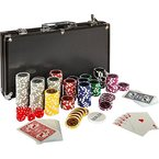Ultimate Black Edition Pokerset, 300 hochwertige 12 Gramm METALLKERN Laserchips, 100% PLASTIKKARTEN, 2x Pokerdecks, Alu Pokerkoffer, 5x Würfel, 1x Dealer Button, Poker, Set, Pokerchips, Koffer, Jetons