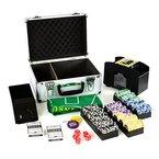 Pokerkoffer Deluxe Pokerset mit 300 Laser Chips Zubehör Kartenmischer