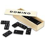 HC-Handel 910094 Domino Dominosteine in Holzbox Holz 14,5 x 5 x 3 cm schwarz/natur