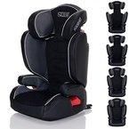 LCP Kids Kinderautositz Neptun iFix Graphit Isofix 15 bis 36 kg Gruppe 2 und 3 - wächst mit dem Kind da Kopfstütze und Seitenschutz verstellbar - grau