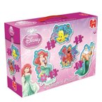 Jumbo 17346 - Disney Arielle - 4 in 1 Konturen-Puzzle, 6/8/10/12 Teile