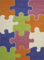 Lalee  347172023  Kinder - Jugend Teppich / Muster : Puzzle / Grün Blau Bunt / Konturen / Grösse: 133 x 190 cm