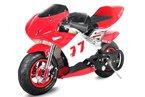 Pocketbike PS77 49cc, Kinderbike, Rennbike, Dirtbike, Mnibike, Schwarz-Rot-Weiß