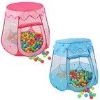 KIDUKU® Kinderspielzelt + 100 Bälle + Tasche Spielhaus Bällebad Schloss für drinnen und draußen (Pink)