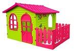 Spielhaus Kinderspielhaus mit Terrasse XXL für drinnen und Draußen Pink Gartenhaus Kinderhaus ideal für Mädchen Kinder Spiel Haus Gartenhaus