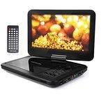 """10.5"""" Tragbarer DVD-Player, 3 Stunden Akku, Schwenkbaren Bildschirm, unterstützt SD-Karte und USB (Schwarz)"""
