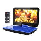 """10.5"""" Tragbarer DVD-Player, 3 Stunden Akku, Schwenkbaren Bildschirm, unterstützt SD-Karte und USB (Blau)"""