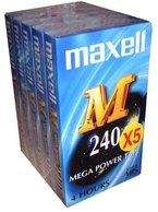 Maxell E 240 M VHS Videokassetten, 240 min, 5 Stück