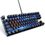 Hintergrundbeleuchtete mechanische Tastatur mit blauen Schalter, verdrahtet Anti-Ghosting-Legierung Panel Gaming-Tastatur mit USB-Schnittstelle, schwarz