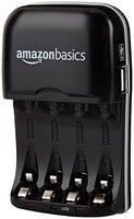 AmazonBasics Batterieladegerät für Ni-MH AA / AAA Akkus mit USB-Port
