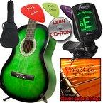 Ashley Klassik Gitarren Set in verschiedene Farben + Komplettes Anfänger-Zubehör, Stimmgerät, Tasche, extra Saiten UND LERN CDROM, ohne Noten spielen lernen. (Emerald Green grün/schwarz Verlauf)