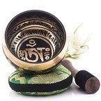 Tibetische Klangschale - Om Mani Padme Hum Design - Vollständiges Set mit Klöppel und Kissen - Made in Nepal