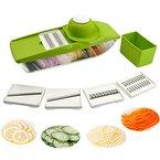 5 in 1 Kompakter Gemüsehobel Mandoline Slicer - Schneiden oder Zerteilen Gemüse Obst sSchnell und gleichmäßig - Best Gemüseschneider Slicer mit 5 verschiedenen Qualitäts Edelstahl Klingen, iParaAiluRy