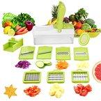 9 in 1 Verstellbarer Mandoline Gemüseschneider Schneiden, Zerteilen Gemüse Obst Schnell und gleichmäßig, Multischneider, Gemüsehobel, Gemüseschäler, Gemüsereibe und Julienneschneider in 1