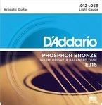 D'Addario EJ16 Satz Bronzesaiten für Akustikgitarre 012' - 053'