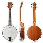 MECO 23 '' Banjo Ukulele Konzertmusik Runder Nylon Saiteninstrument Country Style4 String Uke Lele Konzert Sapele Holz