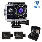 APEMAN Action Kamera WIFI Sports camera 14MP Full HD wasserdichte Action cam mit 2 verbesserten Batterien und kostenlose Accessoires