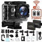 CAMKONG Action Kamera WIFI sports cam 14MP Full HD Helmkamera wasserdichte Action Camera mit 2 Verbesserten Batterien und Zubehör Kits