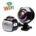 360 Grad Panorama VR Actionkamera,CAMTOA Sport DV 2448P 30FPS WiFi Mini 3D VR Action Kamera,Wasserdicht 30M 220° Winkelobjektiv Outdoor Home Tauchen Auto-Recorder DV Player Videokamera mit Zubehör