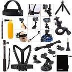 Luxebell® 14in1 Zubehör Bundle Kit für Sony Action Cam HDR-AS15 / AS20 / AS30V / AS100V / AS200V / Sony Action Cam HDR-AZ1 Mini Sony FDR-X1000V / W 4K-Kameras, Helm Schlaufenhalterung + Handheld Monopod ausdehnbarer Teleskop Pole + Brustgurt Berg + Floating-Handgriff-Griff + Fahrrad-Lenkstange-Einfassungs-Halter + Car Saugnapf + Flexible Stativ + Aufbewahrungstasche