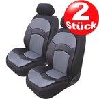 2x Sitzauflage Sitzschoner Sitzbezug Milano Schwarz / Grau