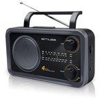 Muse M-05DS Weltempfänger (FM, MW, LW, KW) Radio, Netz- und Batteriebetrieb, Teleskopantenne, AUX-In