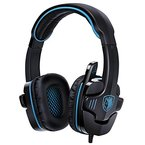 GHB Sades SA-901 Gaming Headset 7.1CH Surround Sound Stereo USB Headset PC Gaming Kopfhörer mit Mikrofon Blau+Schwarz
