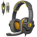 SADES SA 708 3,5-mm-Stereo-Surround-Sound Gaming Headset PC-Stirnband-Kopfhörer mit Mikrophon Over-the-Ear-Lautstärkeregler(Gelb)