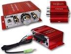 400W Mini-Endstufe Verstärker (ideal für Wohnungen, Motoroller, Motorrad, Auto und MP3-Player) - ROT Modell: EN4