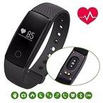 Blingco Sport-Armband, Touch-Taste Wasserdichte Bluetooth 4,0 Smart Fitness Tracker mit Herzfrequenzmesser, Schritt Schrittzähler, Schlaf-Monitor, Remote Shoot, Anrufen / SMS / sitzende Erinnerung, Kalorienzähler, Wecker / Uhrzeit, finden Telefon für Android iOS Smartphone