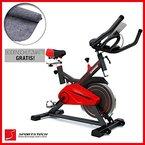 Sportstech Profi Indoor Cycle SX100 mit 13KG Schwungrad, gepolsterter Armauflage, Komfortsattel mit Sitzfederung, Pulsmessung - Speedbike mit flüsterleisem Riemenantrieb - Bodenschutzmatte gratis