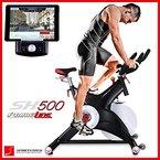 Sportstech Profi Indoor Cycle SX500 mit Smartphone App Steuerung + Google Street View, 25KG Schwungrad, Armauflage, Pulsgurt kompatibel - Speedbike in Studioqualität mit SPD Klicksystem - bis 150 KG