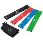 Set aus 4 Fitnessbändern - Gymnastikbänder / Loops für Yoga, Pilates, Reha-Sport Physio-Gymnastik - Für Männer & Frauen - Hergestellt aus natürlichem Latex - Lebenslange Garantie