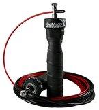 Springseil Speed Rope von BeMaxx Fitness + Trainingsguide & Ersatzseil - 2 verstellbare High Speed Stahlseile, Profi Kugellager & Anti-Rutsch Griffe - Sport, Crossfit, Boxen, Training für Erwachsene