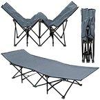 AMANKA Faltlbett Faltliege Feldbett Grau | Camping-Metall-Klappiege ca. 190x70cm | 10-Bein Liege Klappbett | Stahlgestell