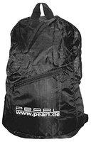 PEARL Faltbarer Rucksack, 15L, 160g, wasserabweisend beschichtet, schwarz