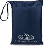 Outdoro Hüttenschlafsack und Inlett, ultraleichter Reiseschlafsack nur 200 g aus Mikrofaser, Travel-Sheet (blau)