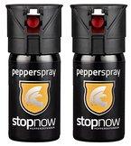 Pfefferspray mit Sprühstrahl 40 ml, stopnow pepperdefender Vorteils-Doppelpack