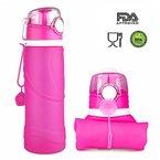 [FDA Zertifiziert] ieGeek Faltbare Wasserflasche Trinkflasche - Medizinische Silikon - für Outdoor,Sport, Fitness, Reisen, Radfahren, Wandern, Camping und Picknick (Rot)