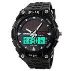 HIwatch Digital Quarz Sonnenenergie militärische LED Sportuhr 5ATM wasserdichte Outdoor Uhren